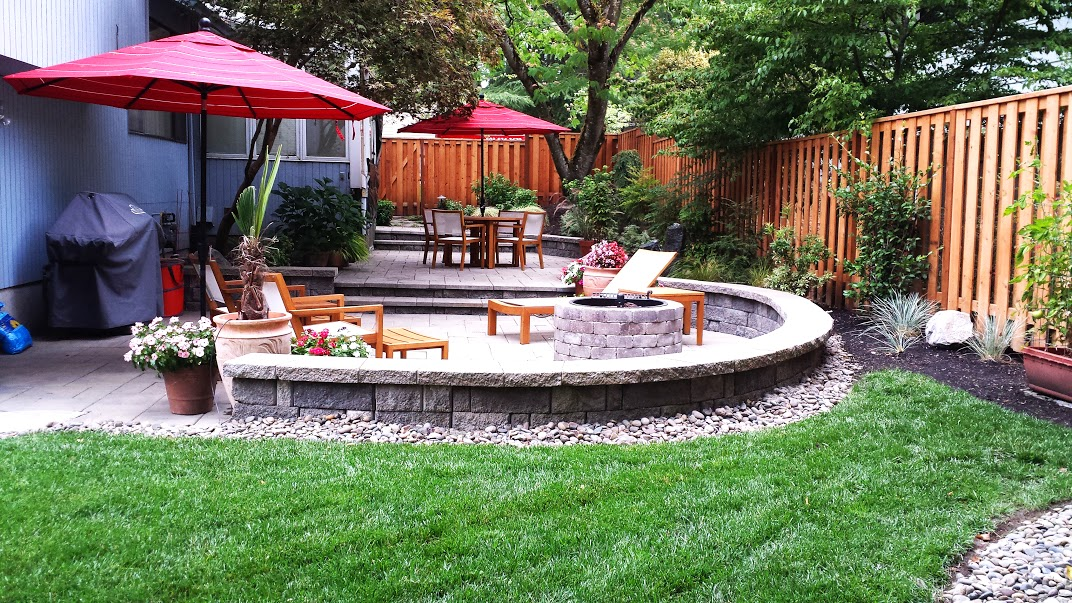 2013 Back Yard Paver Patio, Seat Walls, Fire Pit, Sod Lawn, Plantings