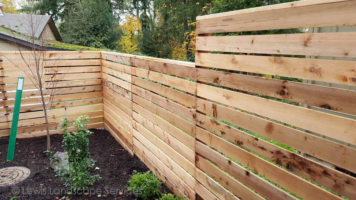 Horizontal Style Cedar Fence we built in Tigard, Oregon area - fence installers