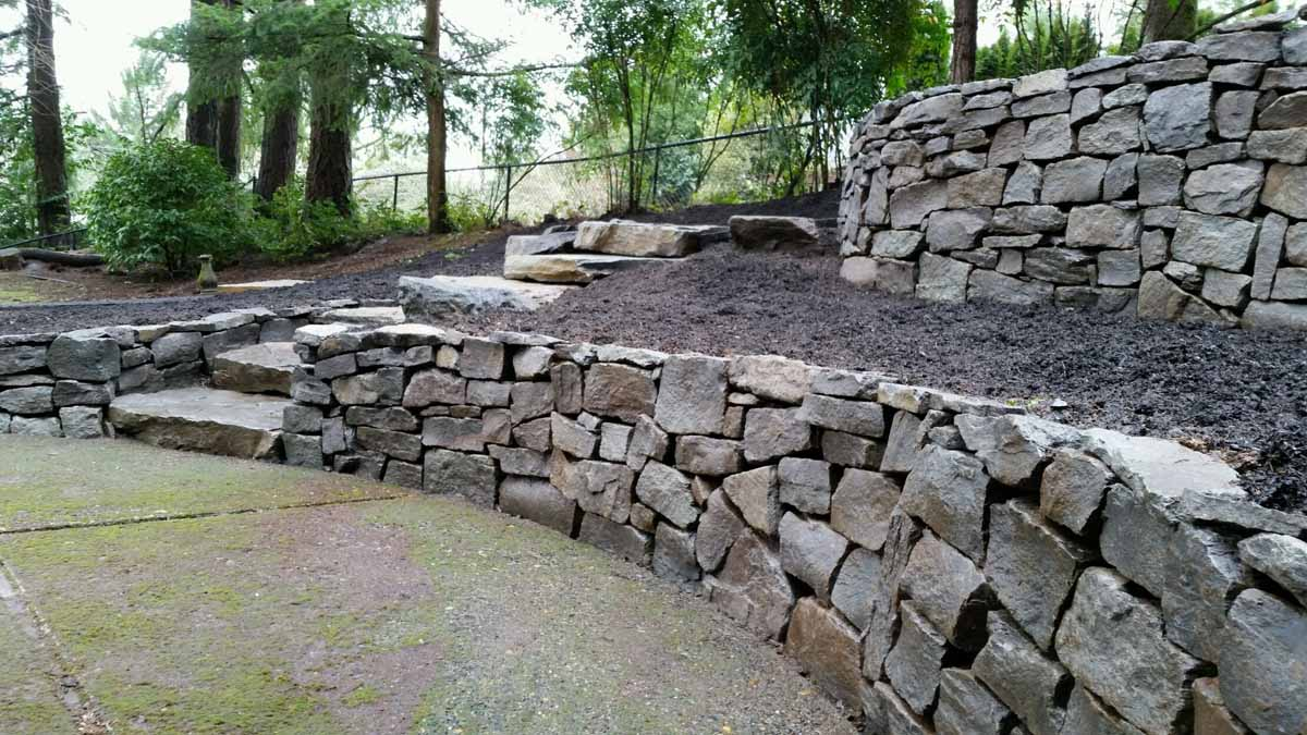 Basalt Dry Stack Rock Wall & Steps