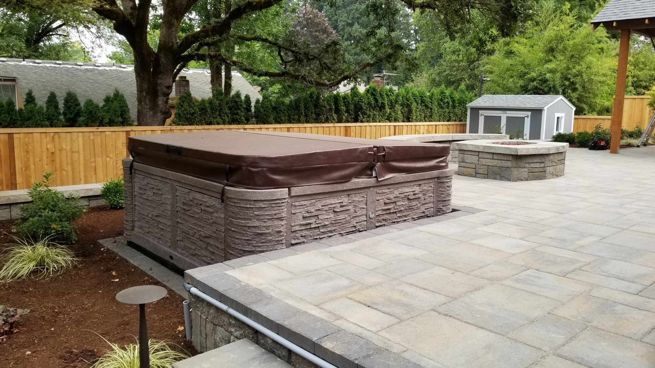Lowered Hot Tub Area, Paver Patio, Fire Pit