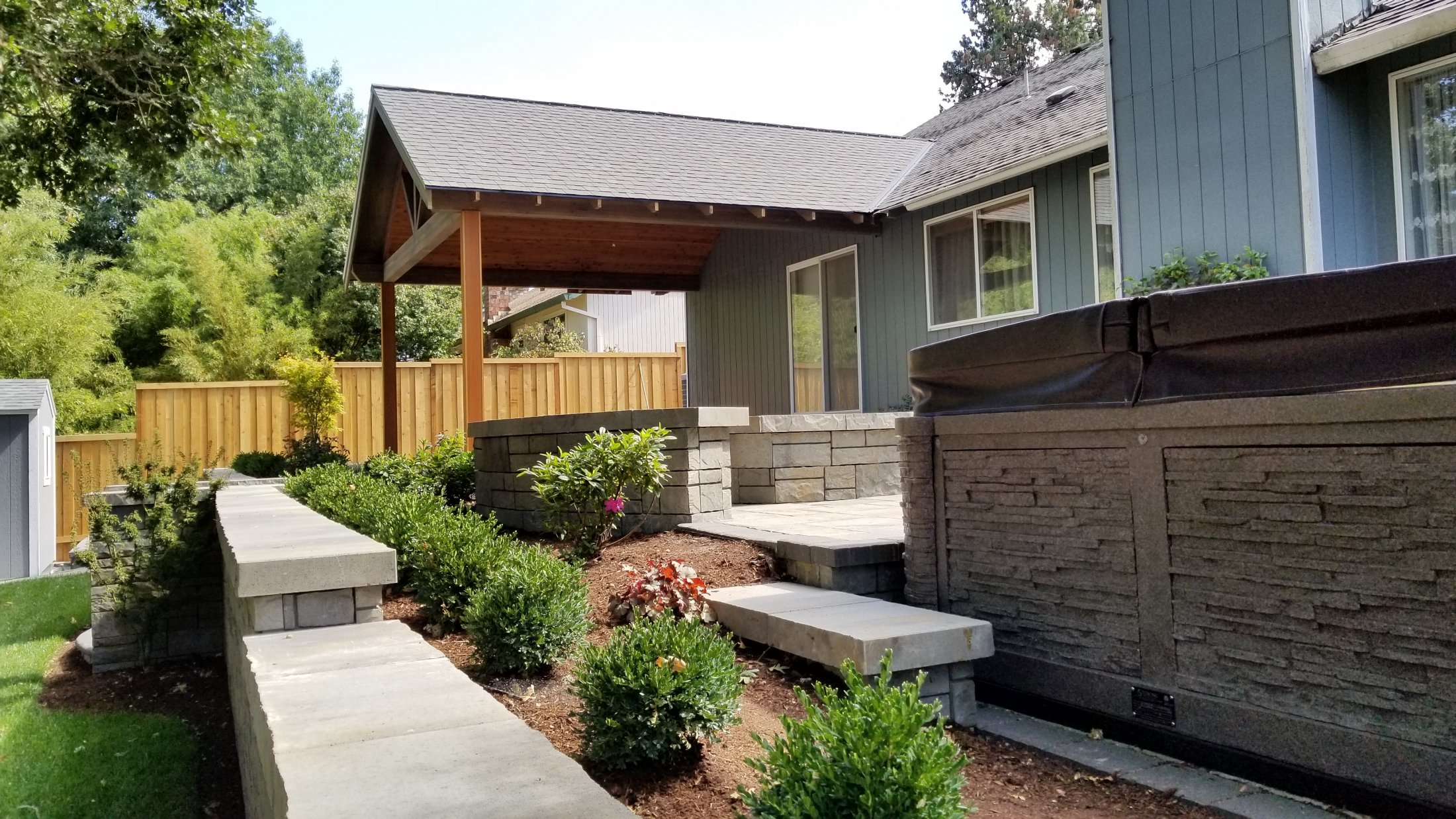 Hot Tub Area, Covered Structure, Landscape