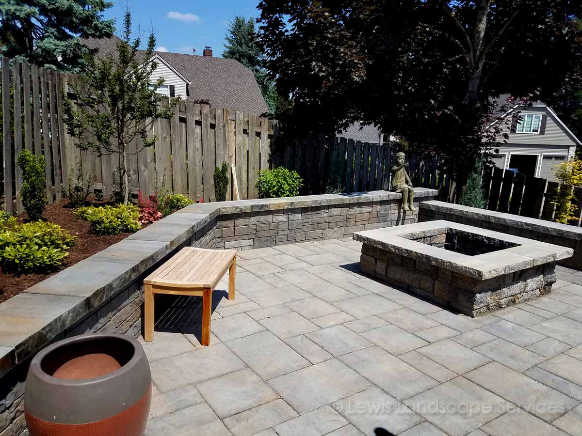 Paver Patio, Wood Fire Pit, Seat Wall