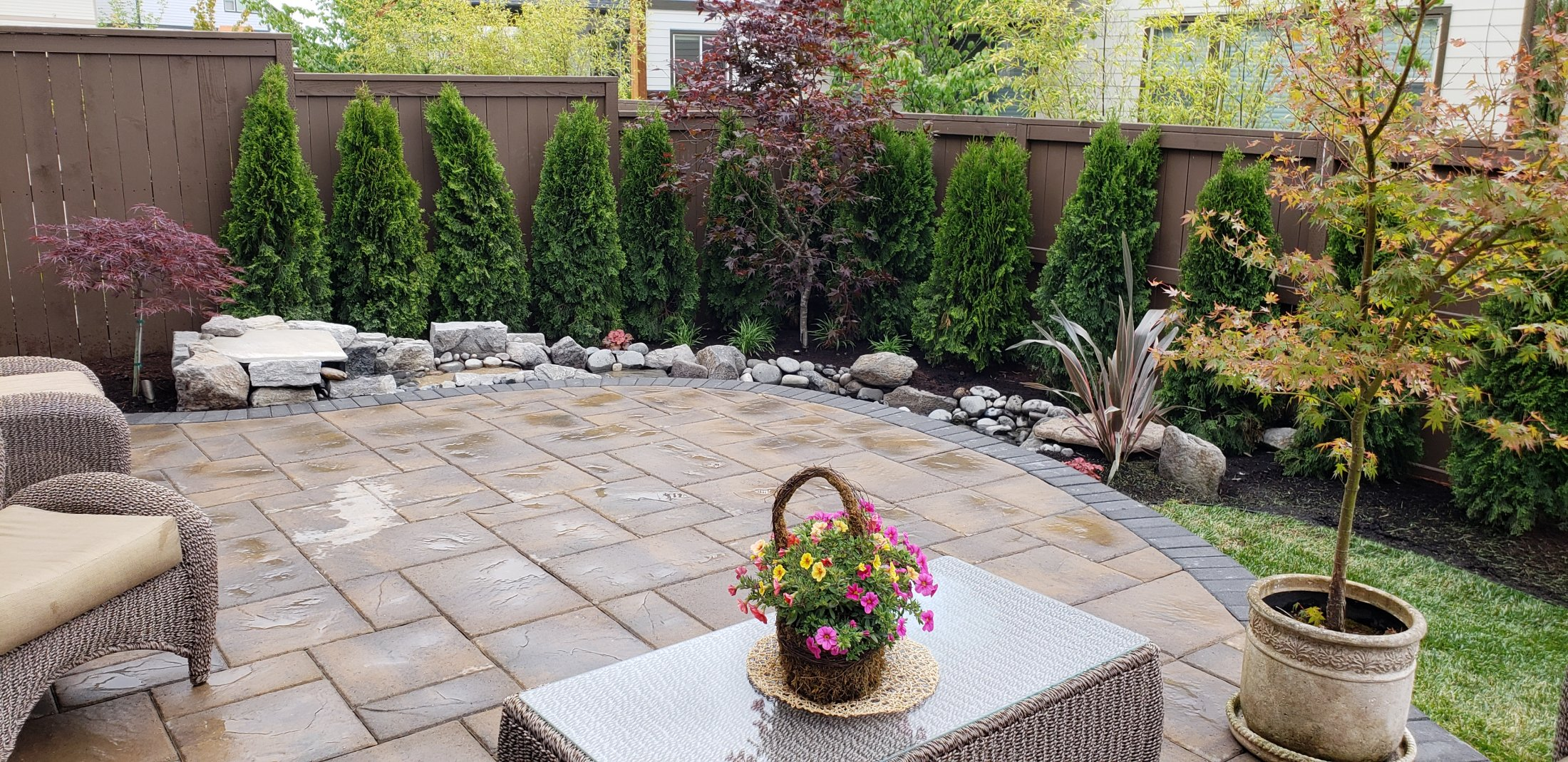 Patio After Waterfall & Plants Installed