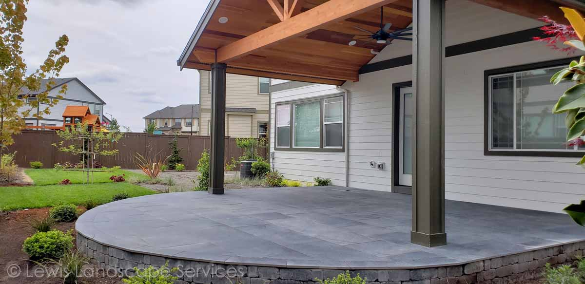 Covered Structure, Raised Porcelein Paver Patio