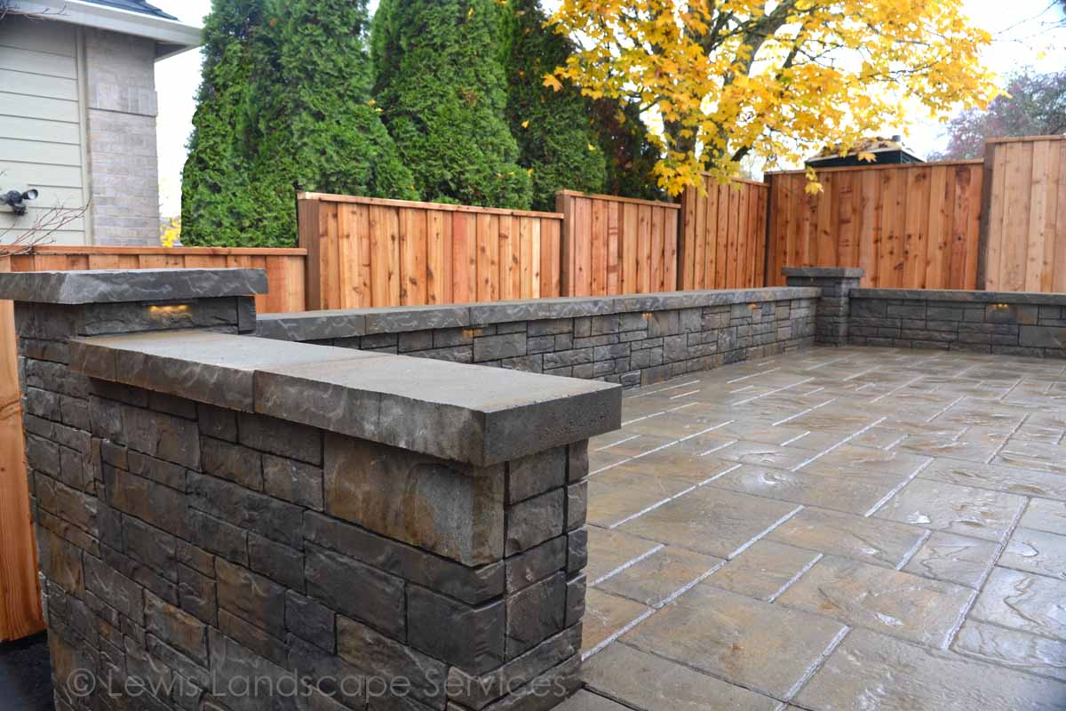 Paver Patio, Seat Walls, New Cedar Fence