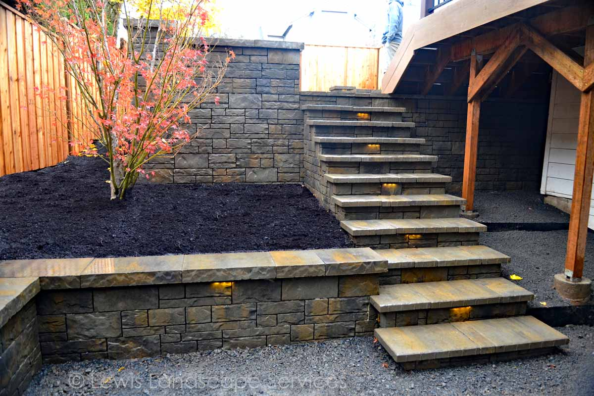 Paver Steps Down to Lower Gravel Patio