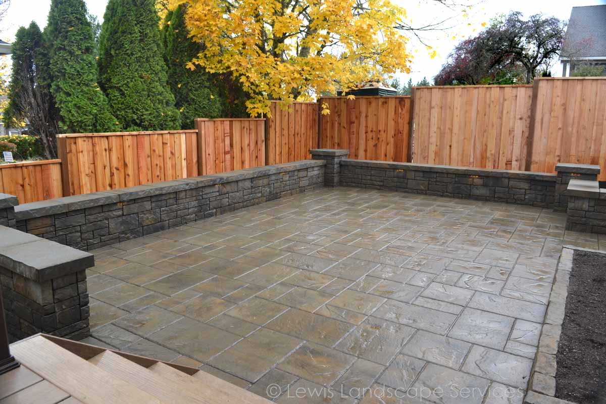 Paver Patio, Seat Wall, New Fence
