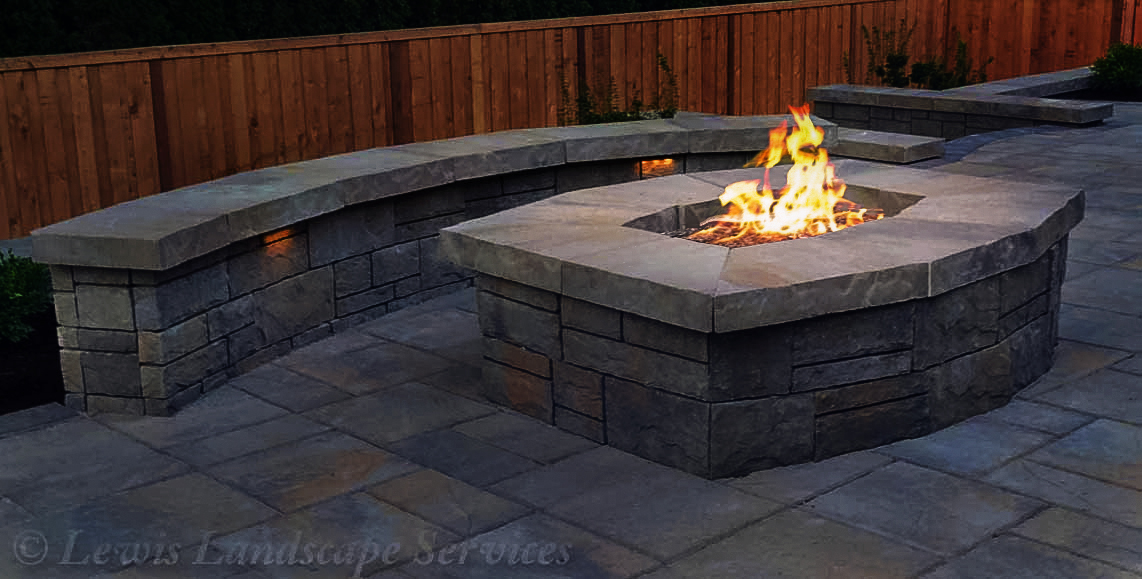 Natural Gas Fire Pit, Seat Wall