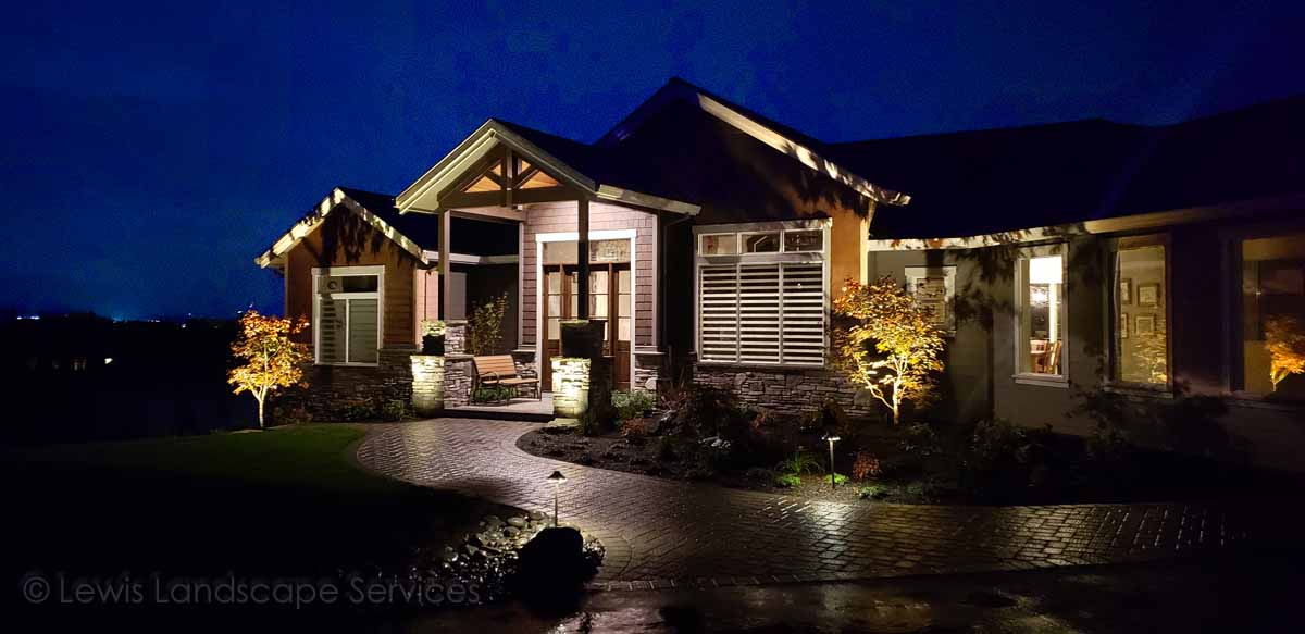 Mixture of Architectural Lighting, Pathway Lighting & Tree Uplighting at a Project We Did in Sherwood, Oregon