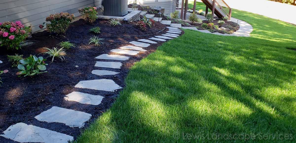 Flagstone Steps, Paver Path/Steps, New Sod Lawn, Plants