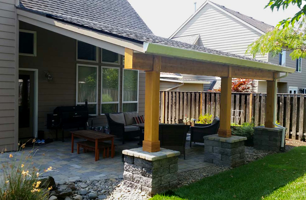 Covered Structure Attached to House Over Patio