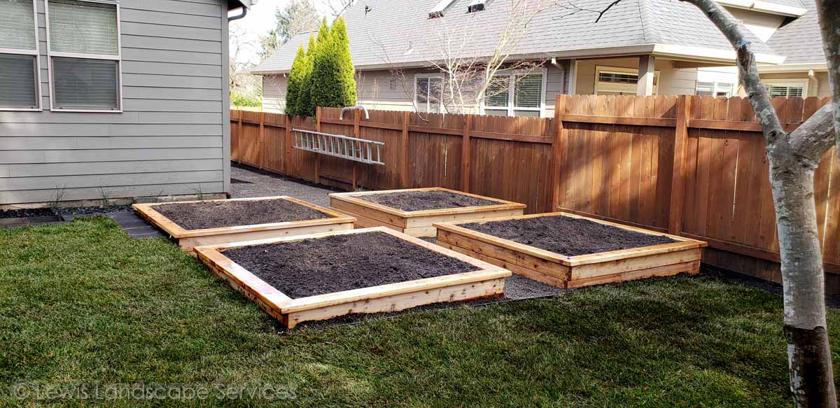 Cedar Raised Beds Garden Box from job we did in Tigard, OR