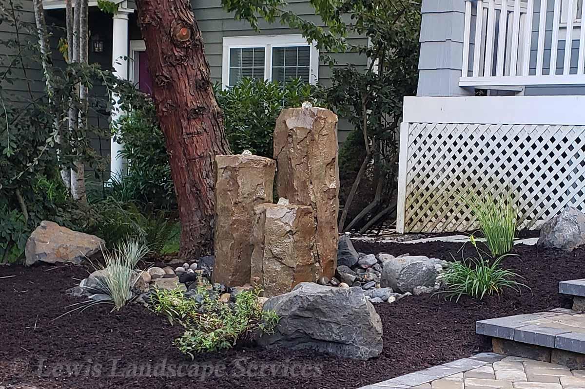 3 Rock Bubbler Fountain Water Feature we built in Beaverton, Oregon