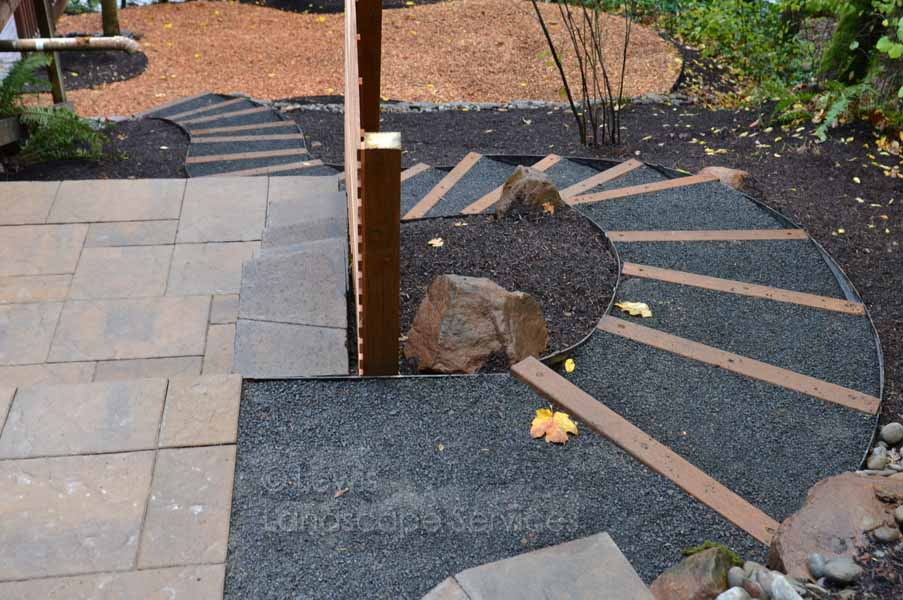Timber Steps w/ Steel Edging & Gravel Treads