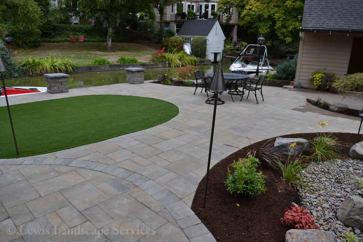 Back Yard Paver Patio, Synthetic Turf, Landscaping