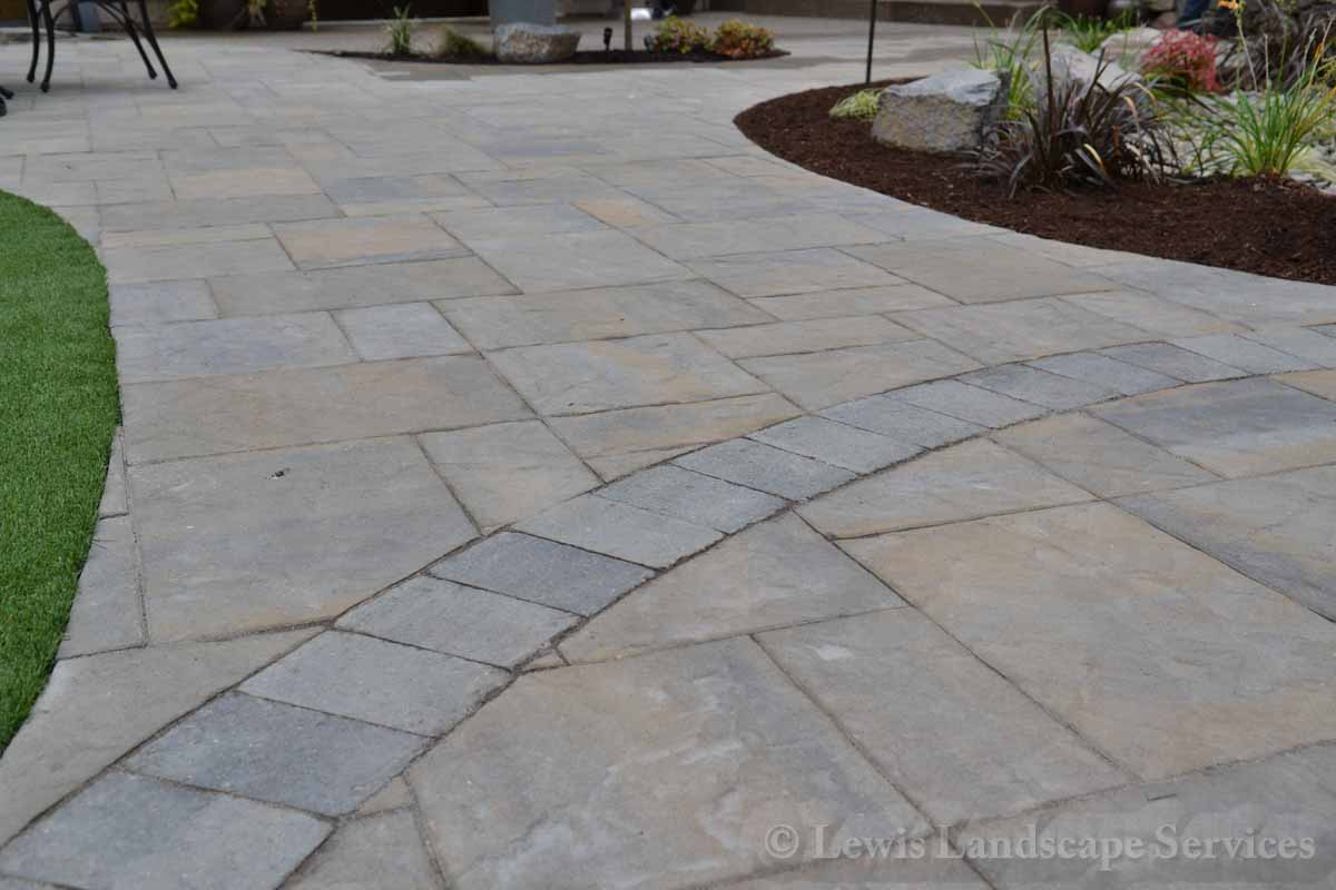 Close-up Detail on Back Yard Paver Patio
