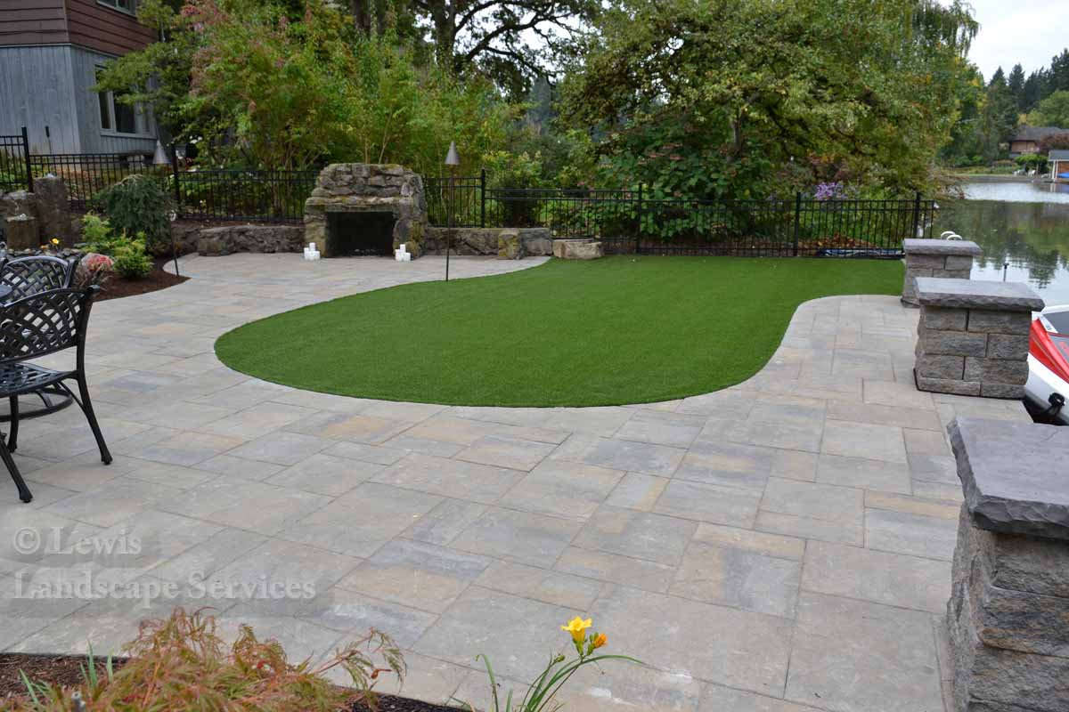 Back Yard Paver Patio & Synthetic Turf