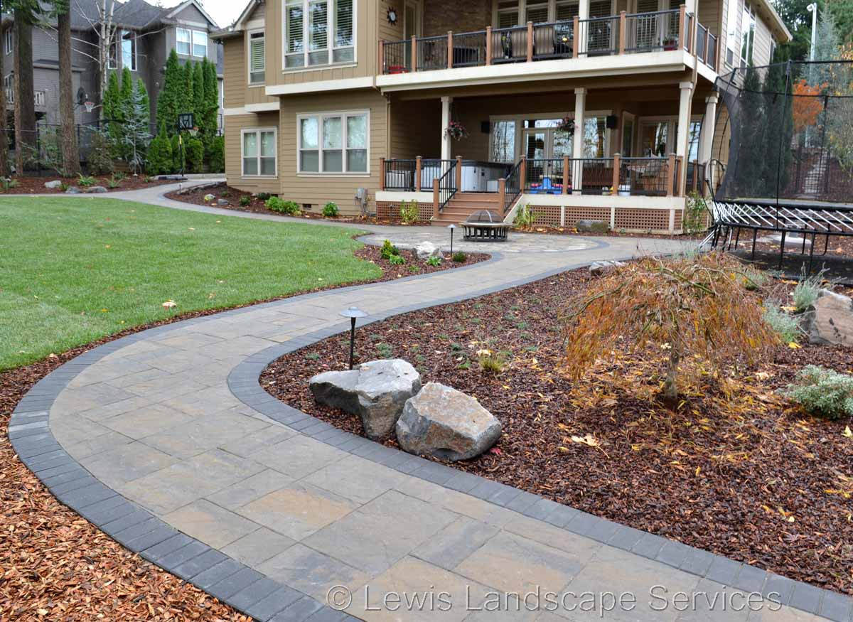 Paver Patio & Pathway, Planting, New Sod Lawn
