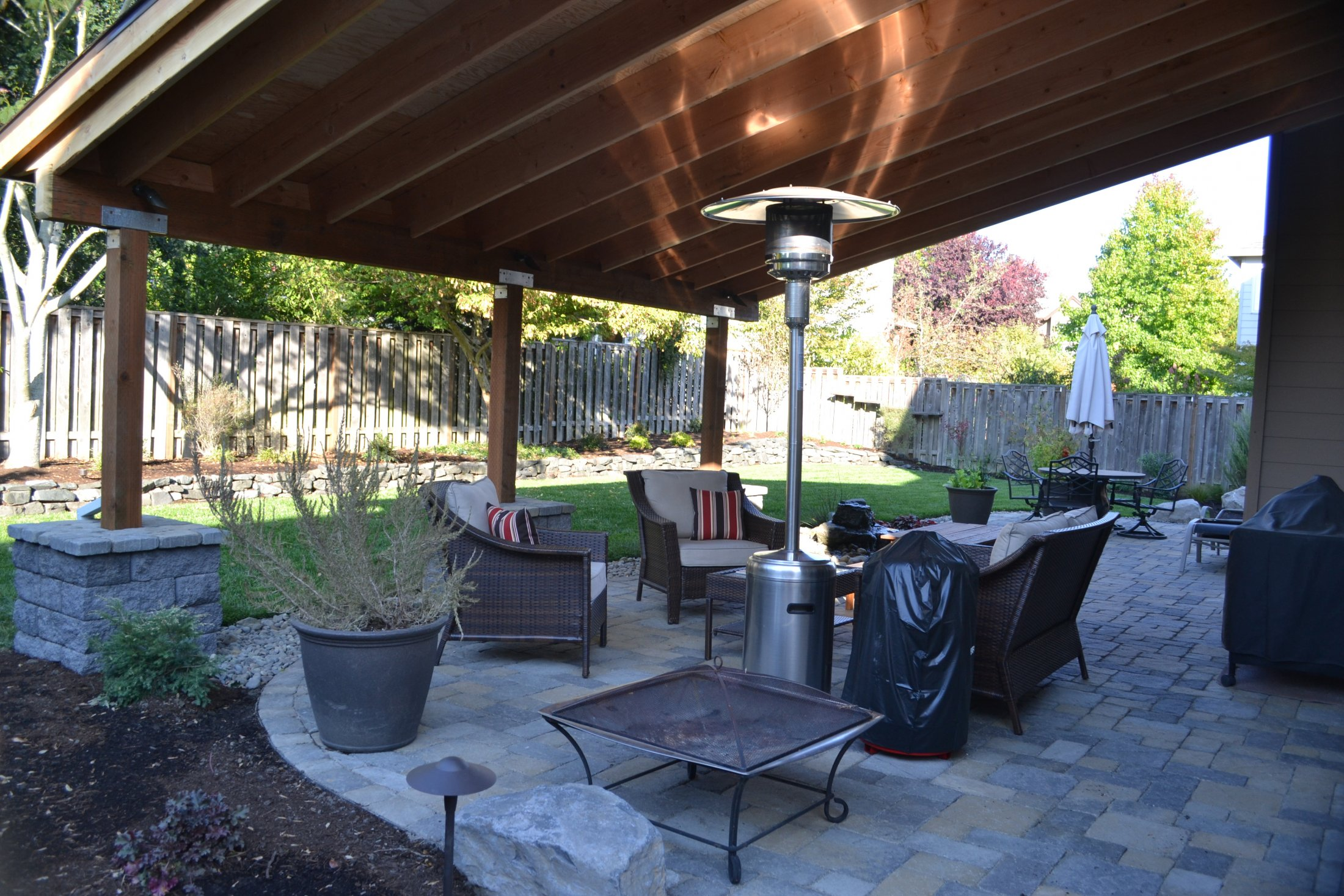 Paver Patio with Covered Structure Above
