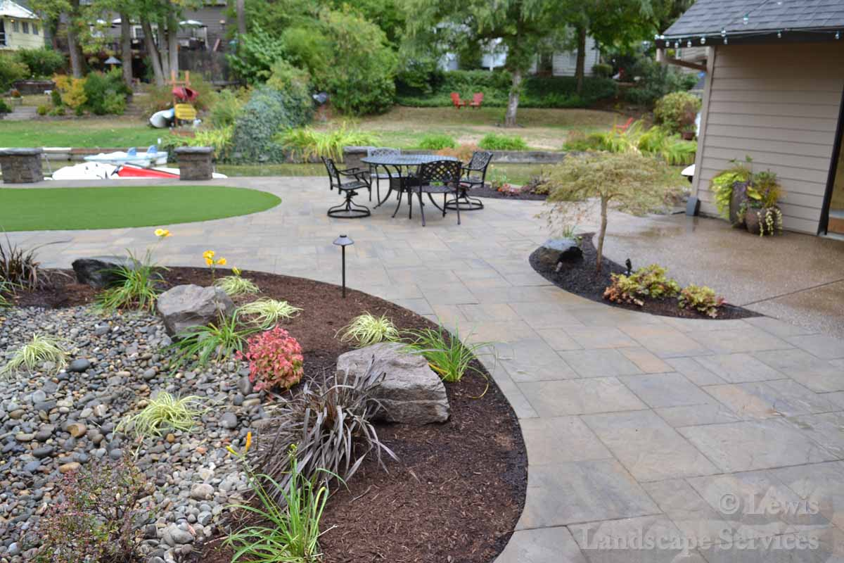 Back Yard Paver Patio, Landscaping, Synthetic Turf