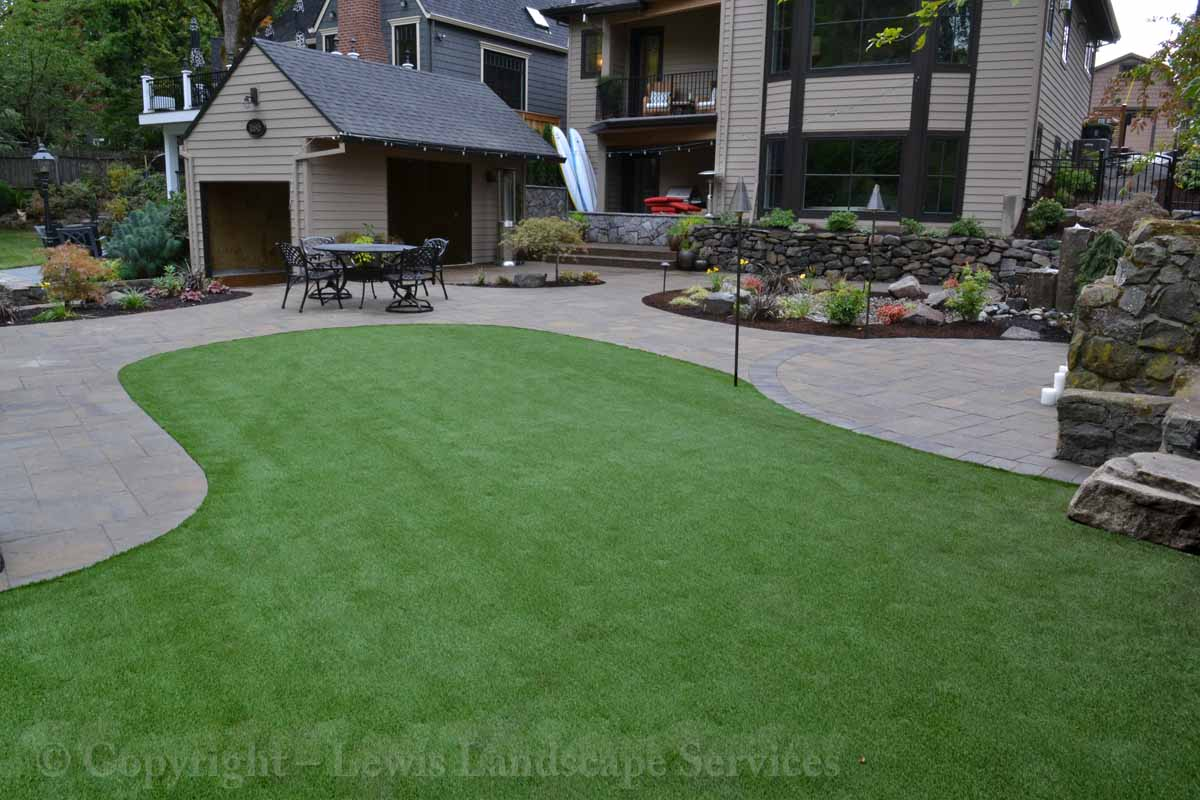 Back Yard Synthetic Turf, Paver Patio, Landscaping