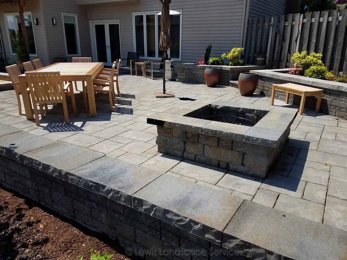 Paver Patio, Wood Fire Pit, Seat Walls