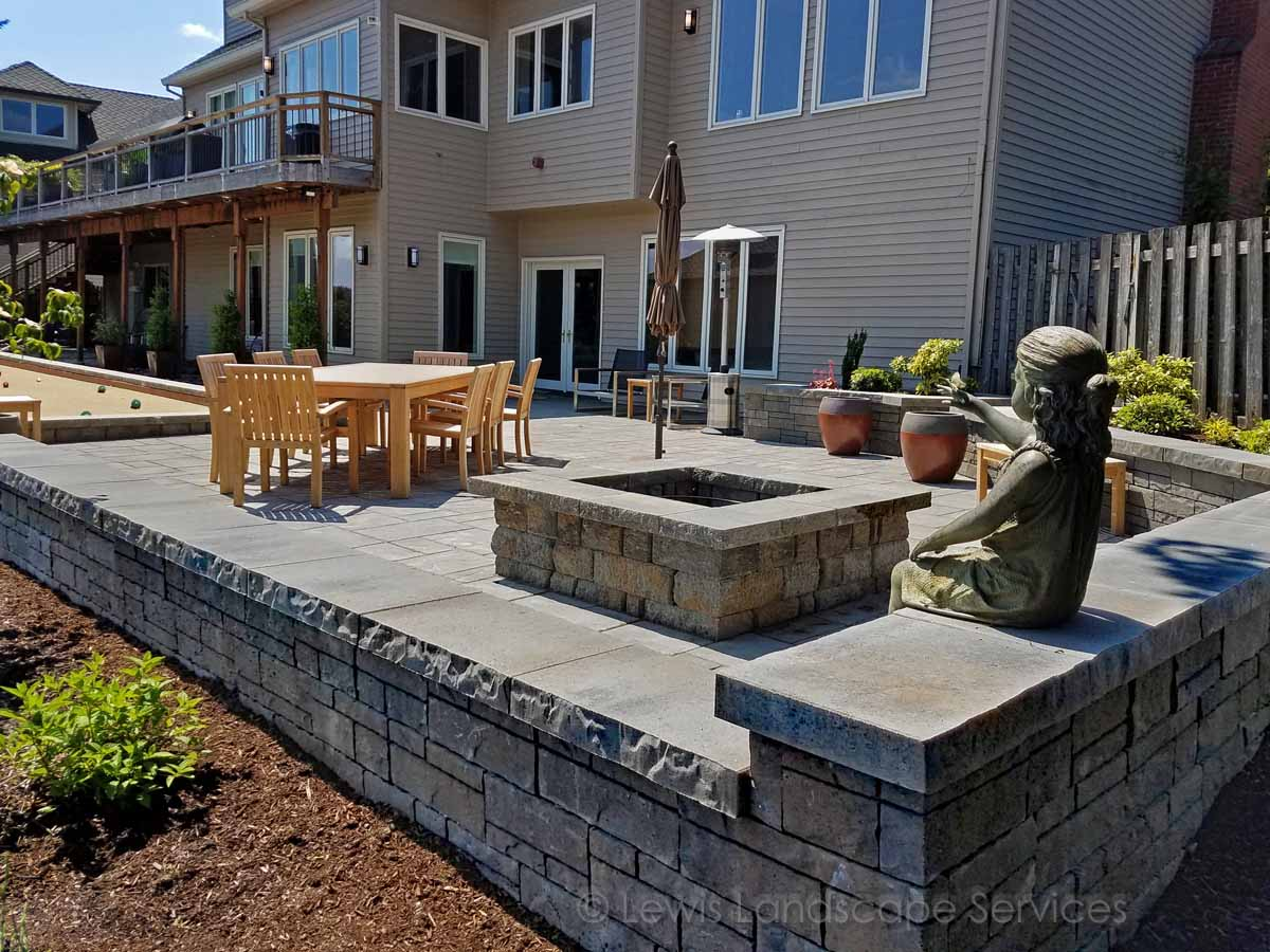 Paver Patio, Wood Fire Pit, Seat Wall, Bocce Ball Court