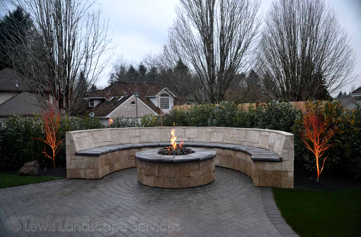 Gas Fire Pit, Seat/Bench Wall, Outoor Lighting, New Planting