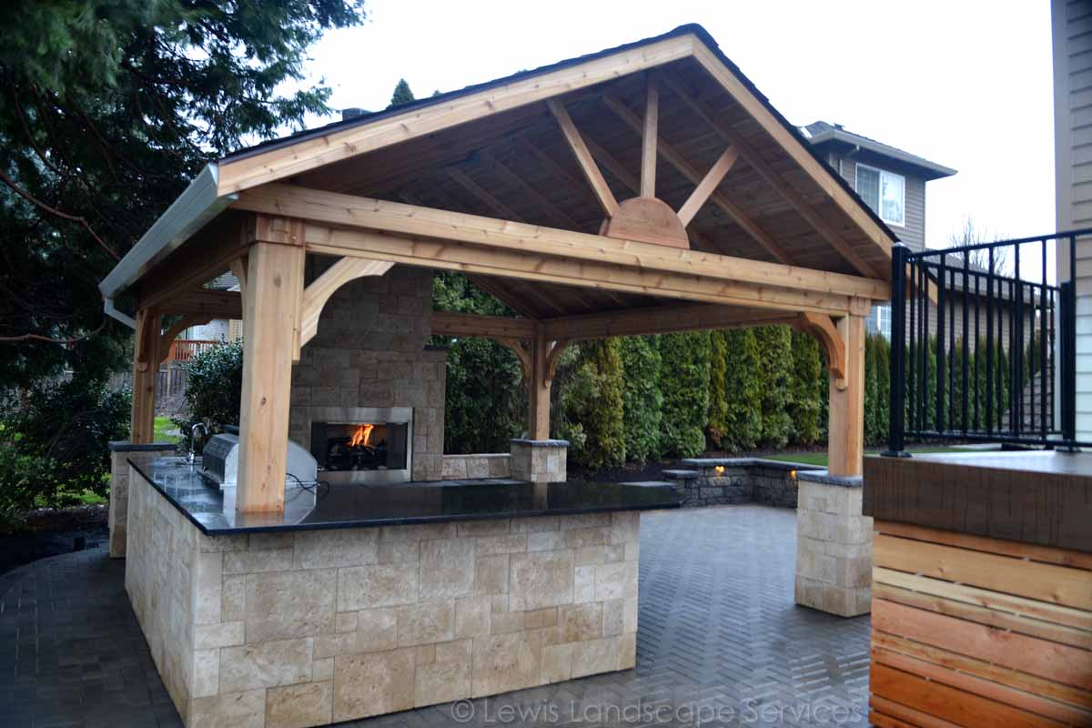 Gabled Roof Structure, Outdoor Kitchen, Outdoor Fireplace, Paver Patio