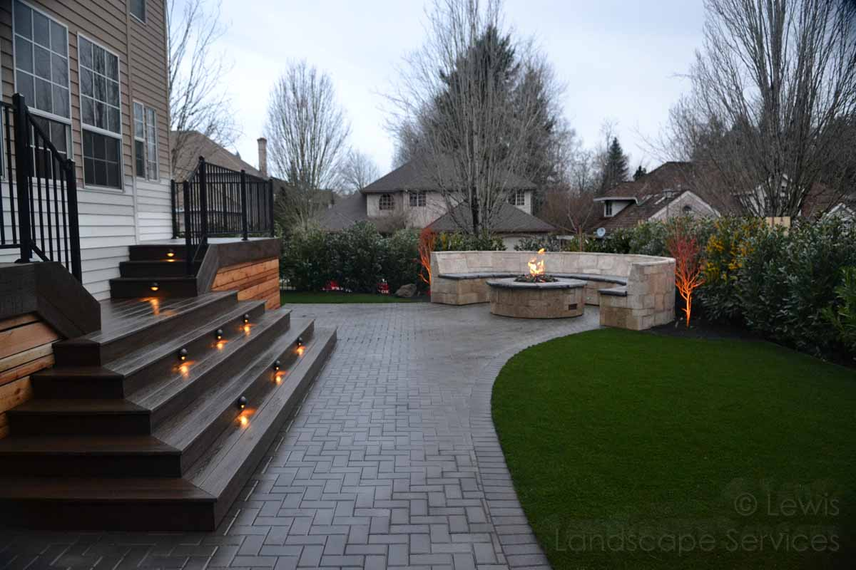 Paver Patio, Seat Wall, Fire Pit, Deck, Lighting