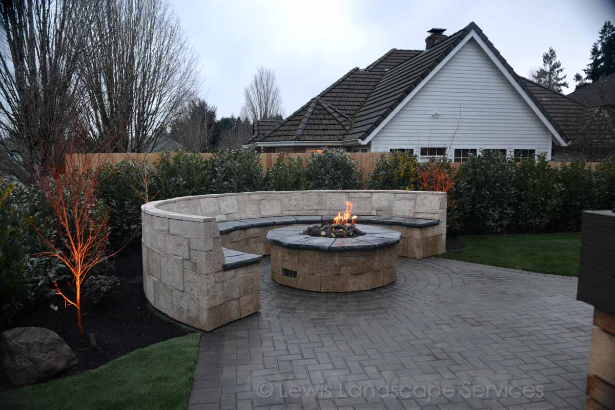 Seat/Bench Wall, Gas Fire Pit, Outdoor Lighting
