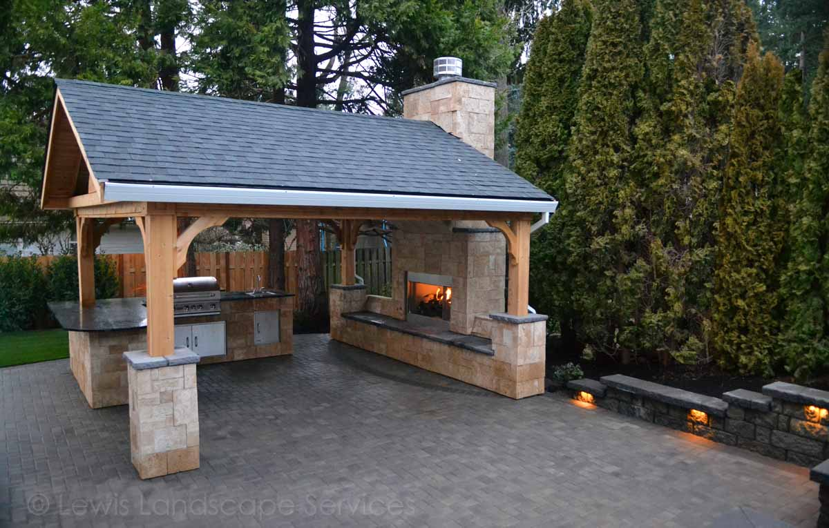 Gabled Roof Structure Outdoor Fireplace Paver Patio Outdoor