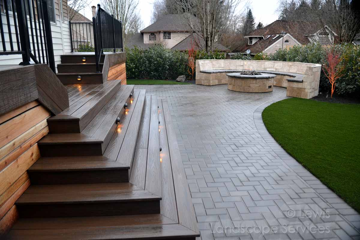 Synthetic Deck, Paver Patio, Seat/Bench Wall, Fire Pit, Synthetic Turf, Planting