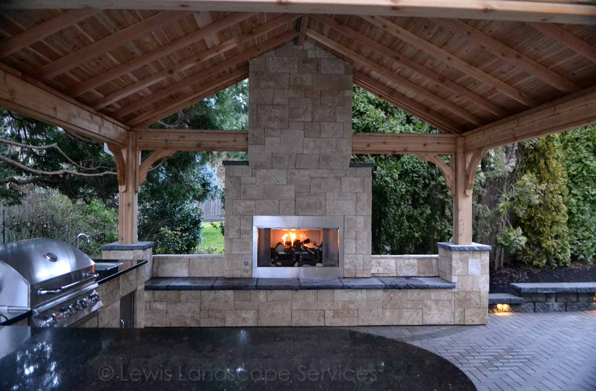 Close-up of Fireplace Under Outdoor Covered Structure