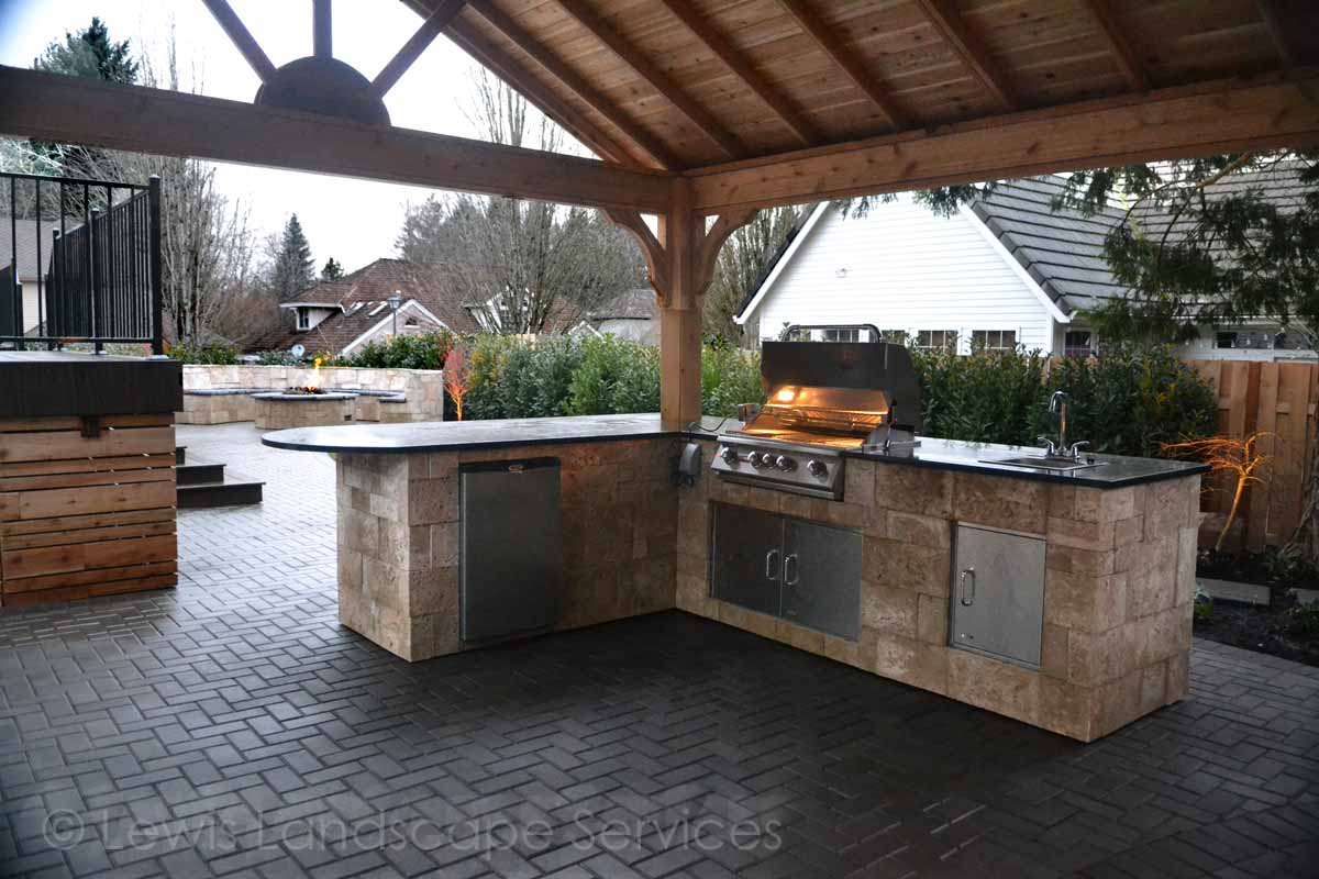 Outdoor Kitchen underneath Covered Structure
