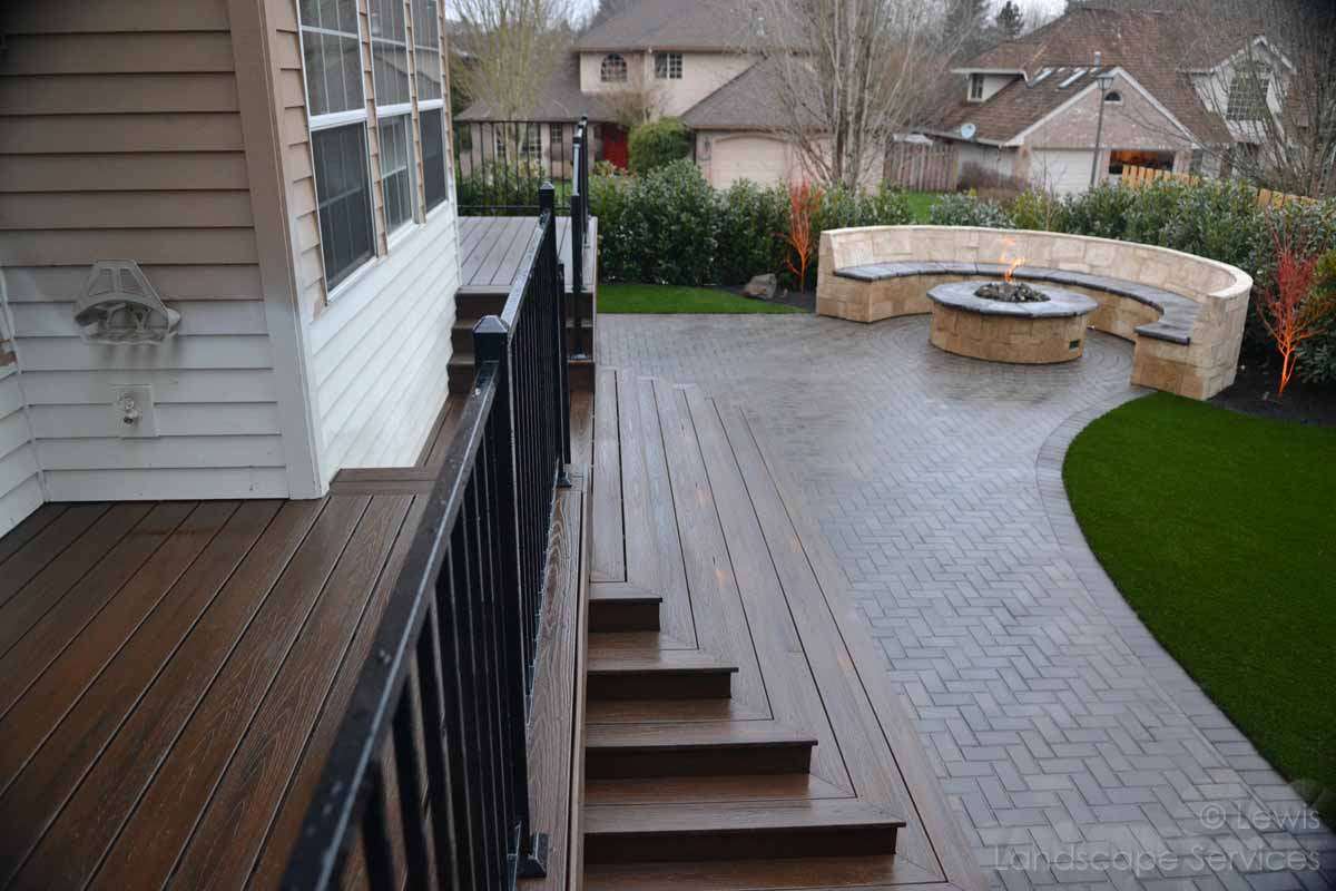 Paver Patio, Seat Wall, Fire Pit, Deck, Railing