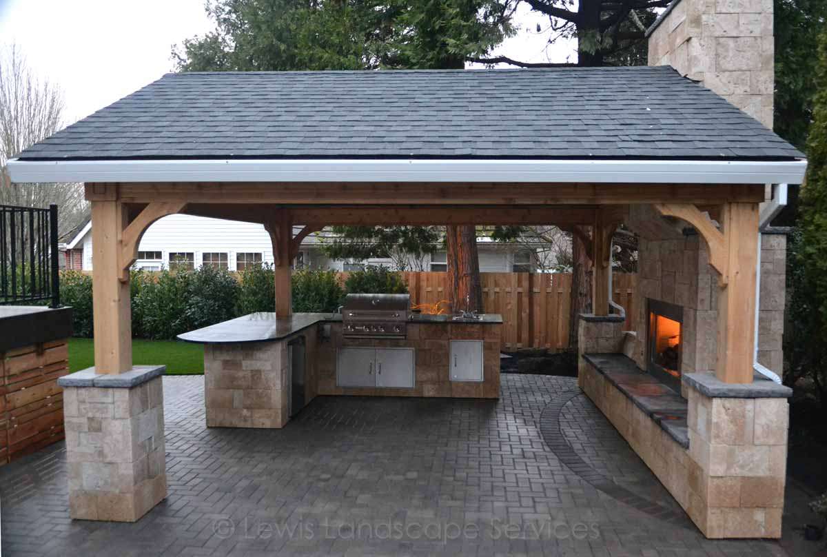 Gabled Roof Structure Outdoor Kitchen Outdoor Fireplace Paver