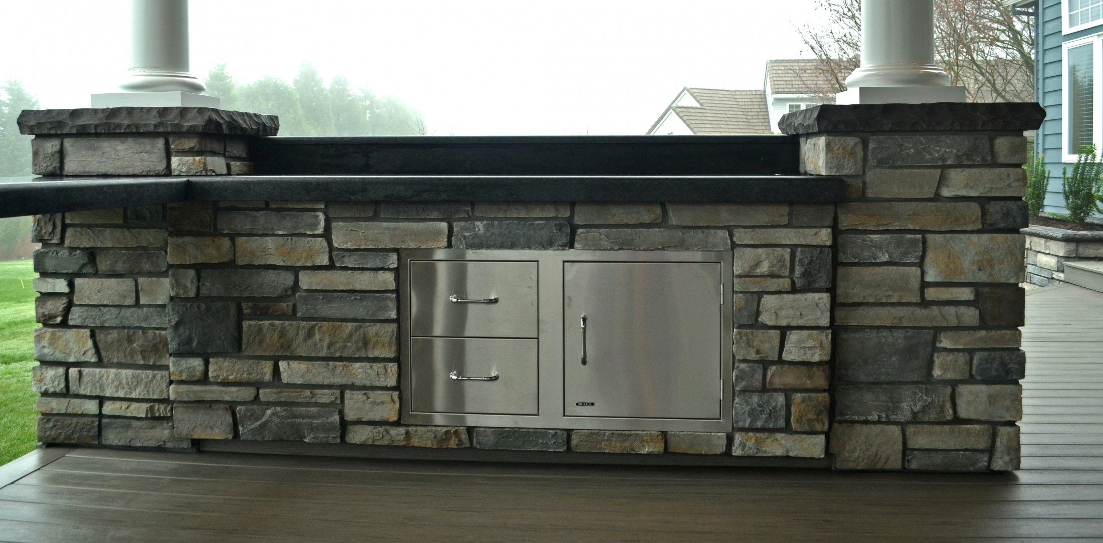 Other Side of Outdoor Kitchen,Concrete Slab Countertops, SS Doors & Drawers
