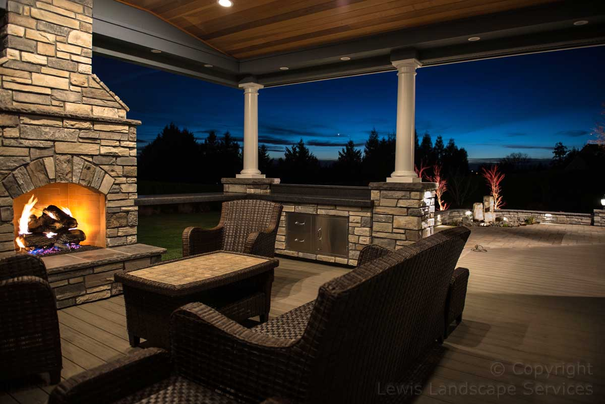 Stone Gas Outdoor Fireplace