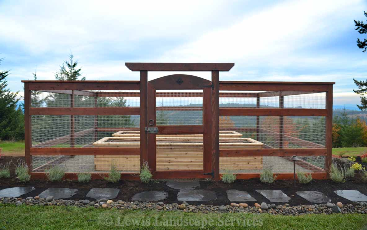 Raised Beds in Protected Garden Area with Rabbit-proof and deer-proof fencing in Hillsboro, OR