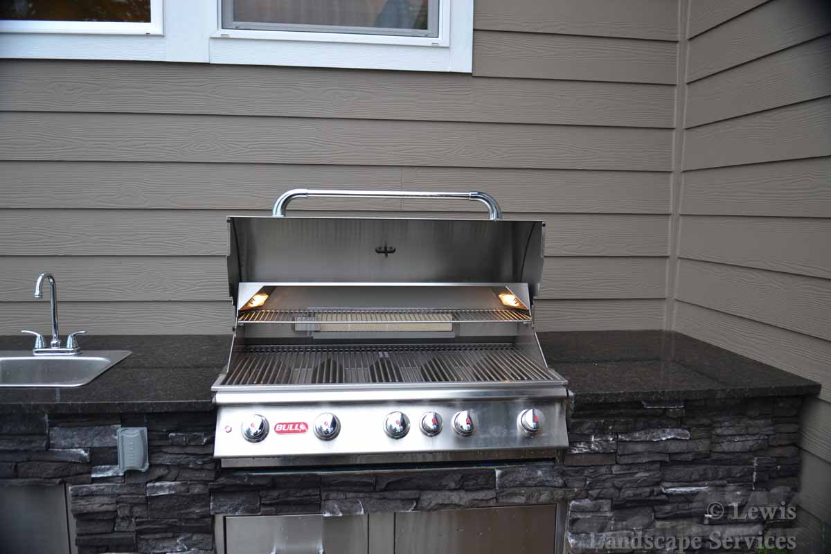 Close-up of Bull BBQ Grill in Outdoor Kitchen