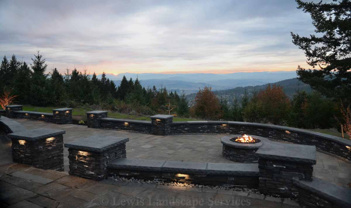 Paver Patio, Gas Fire Pit, Seat Walls, Hardscape Lighting