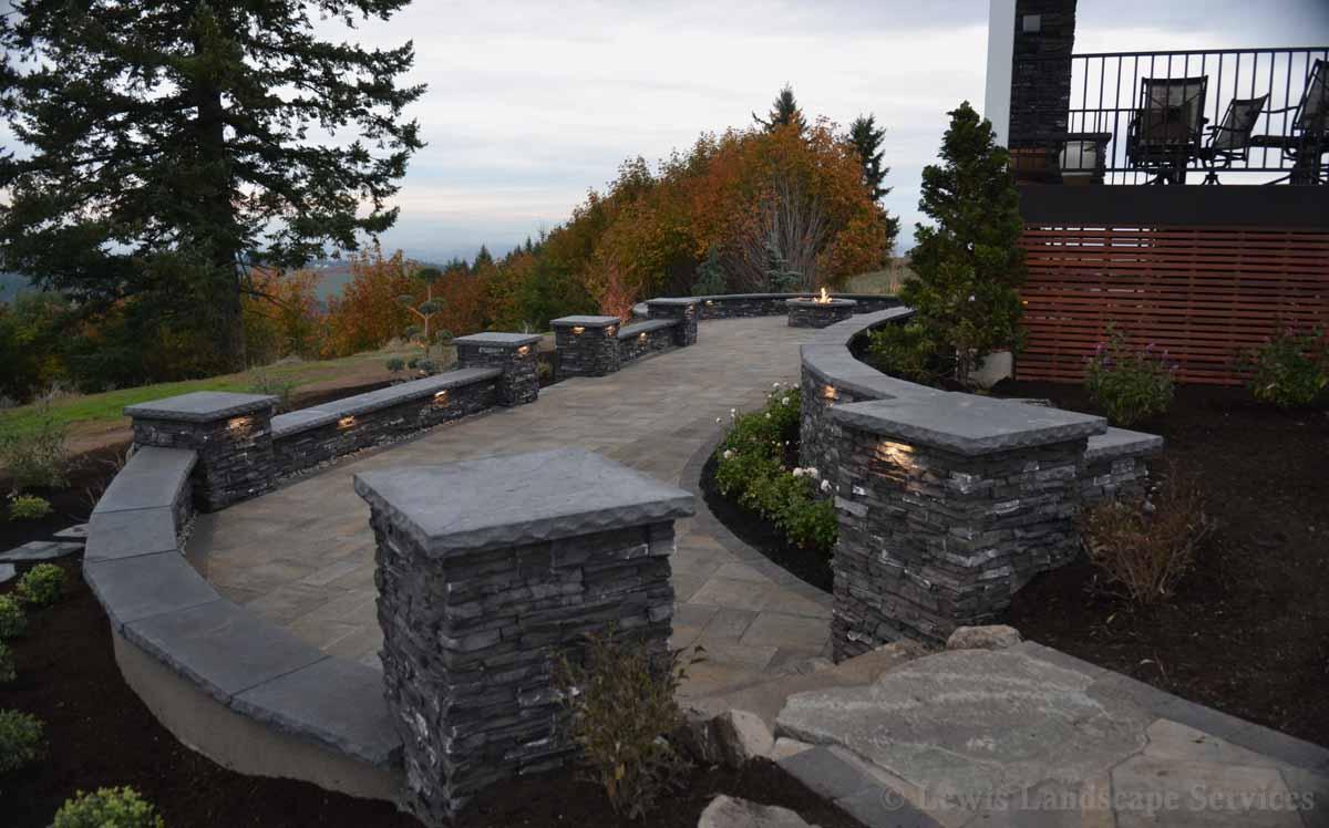 Paver Patio, Seat Walls & Columns, Planting, Hardscape Lighting
