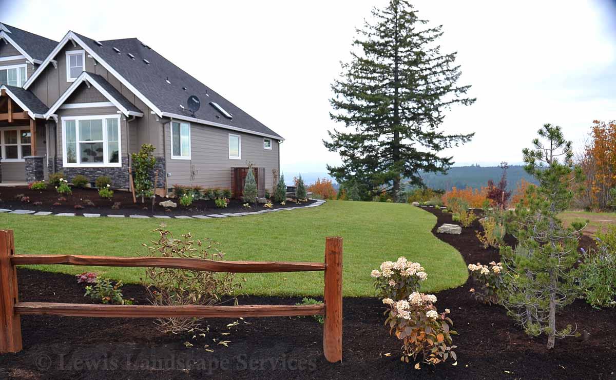 Front Yard Sod Lawn & Landscape, Split Rail Fence