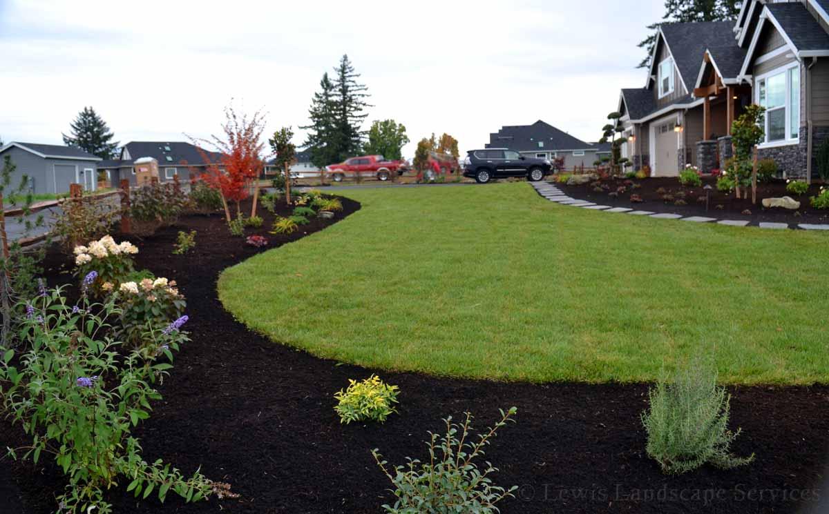 Corner of Front Yard Sod Lawn & Landscape