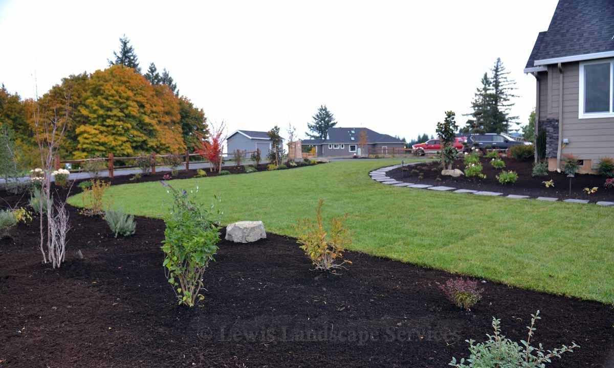 Side View of Front Yard Sod Lawn & Landscape