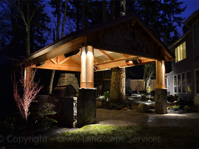 Mixture of Structure Lighting on Outdoor Structure & Landscape Lighting in Back Yard in NW Portland