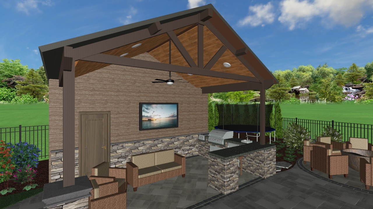 3D Landscape Design of Covered Structure from Project Currently Under Construction in Beaverton, OR 2019/2020