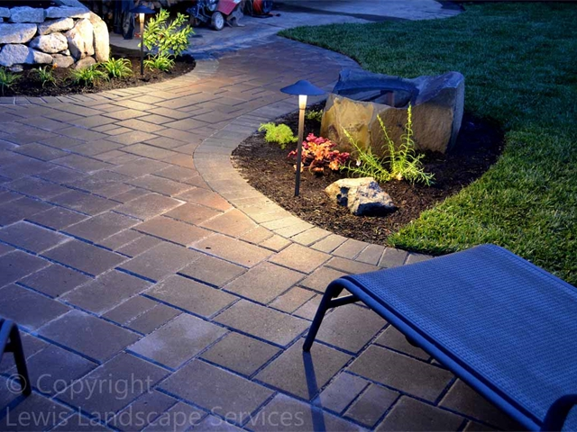 LED Path Light Fixtures Illuminating Paver Pathway at this job we did in Beaverton