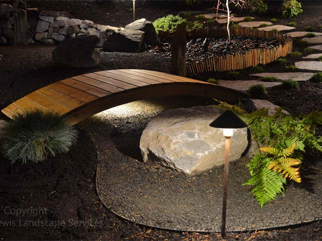LED Accent Lighting on various features in back yard landscape